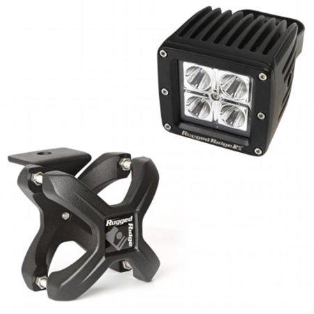 Large X-Clamp & Square LED Light Kit, Textured Black