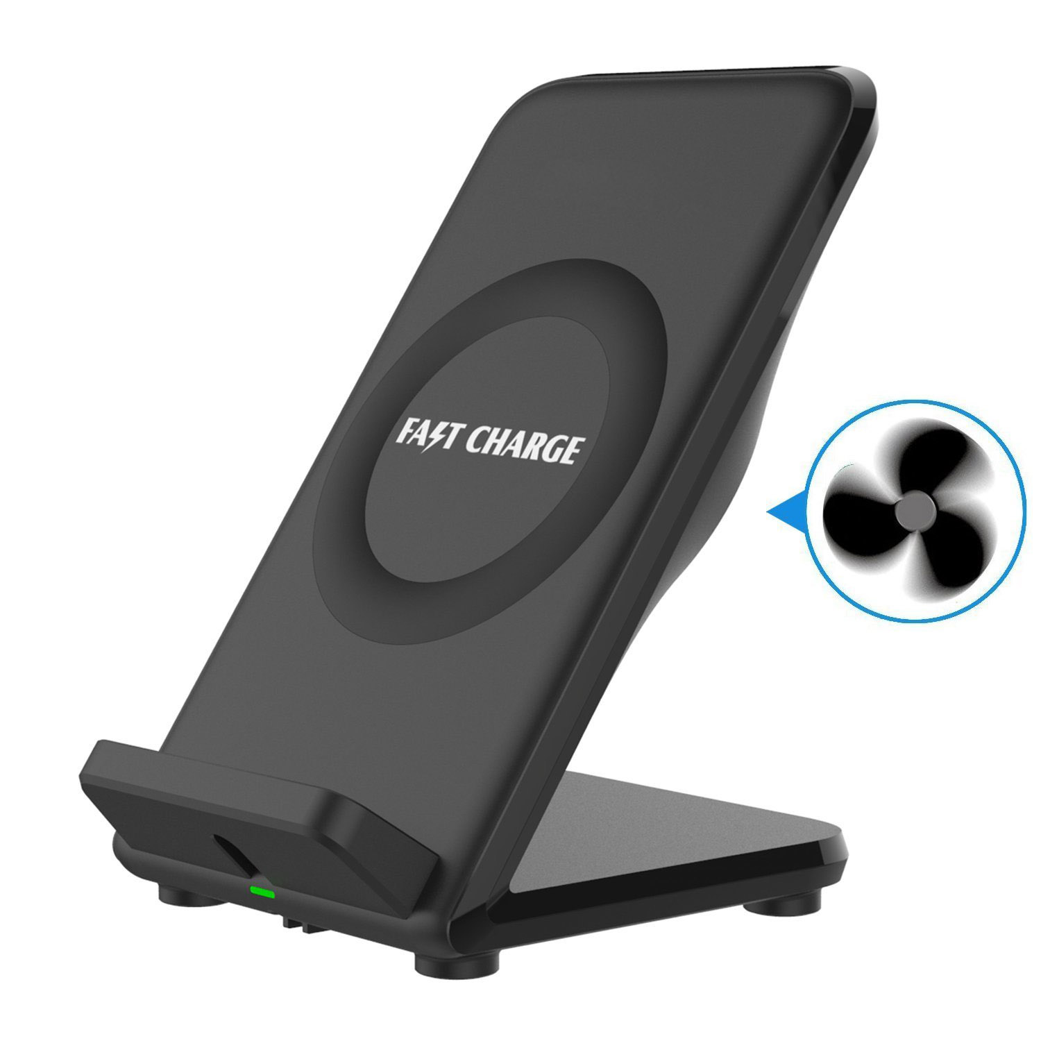 Fast QI Wireless Charging Station & Cooling Fan Charger Dock Stand Quick Charge Pad for for Samsung Galaxy S9/S8/S8+/S7/S7 Edge/S6/S6 Edge Plus/Note 9 8 5,iPhone X/8/8 Plus