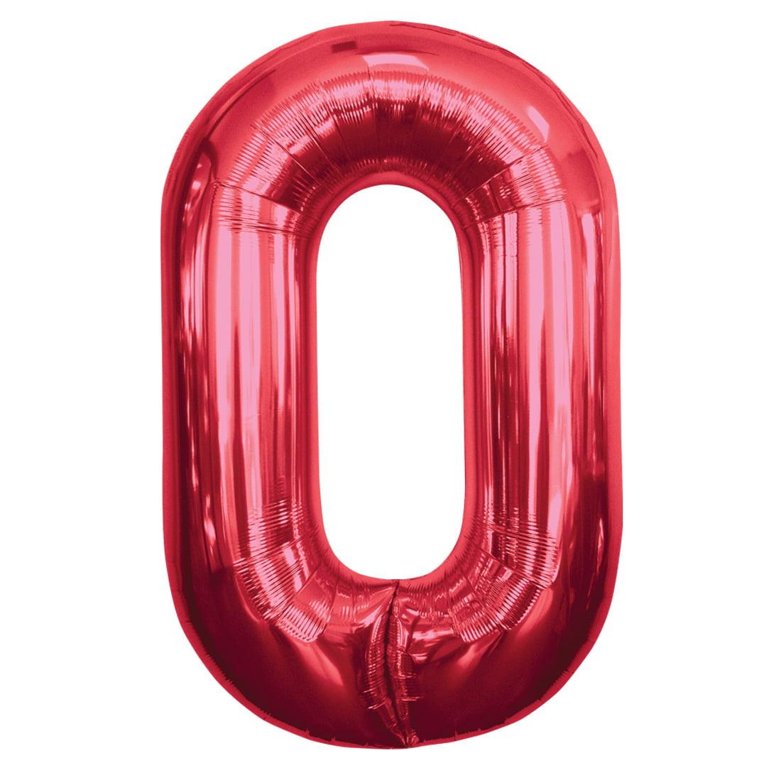 "Northstar Number 0 Zero Shape Solid Jumbo Helium 34"" Foil Balloon, Red"