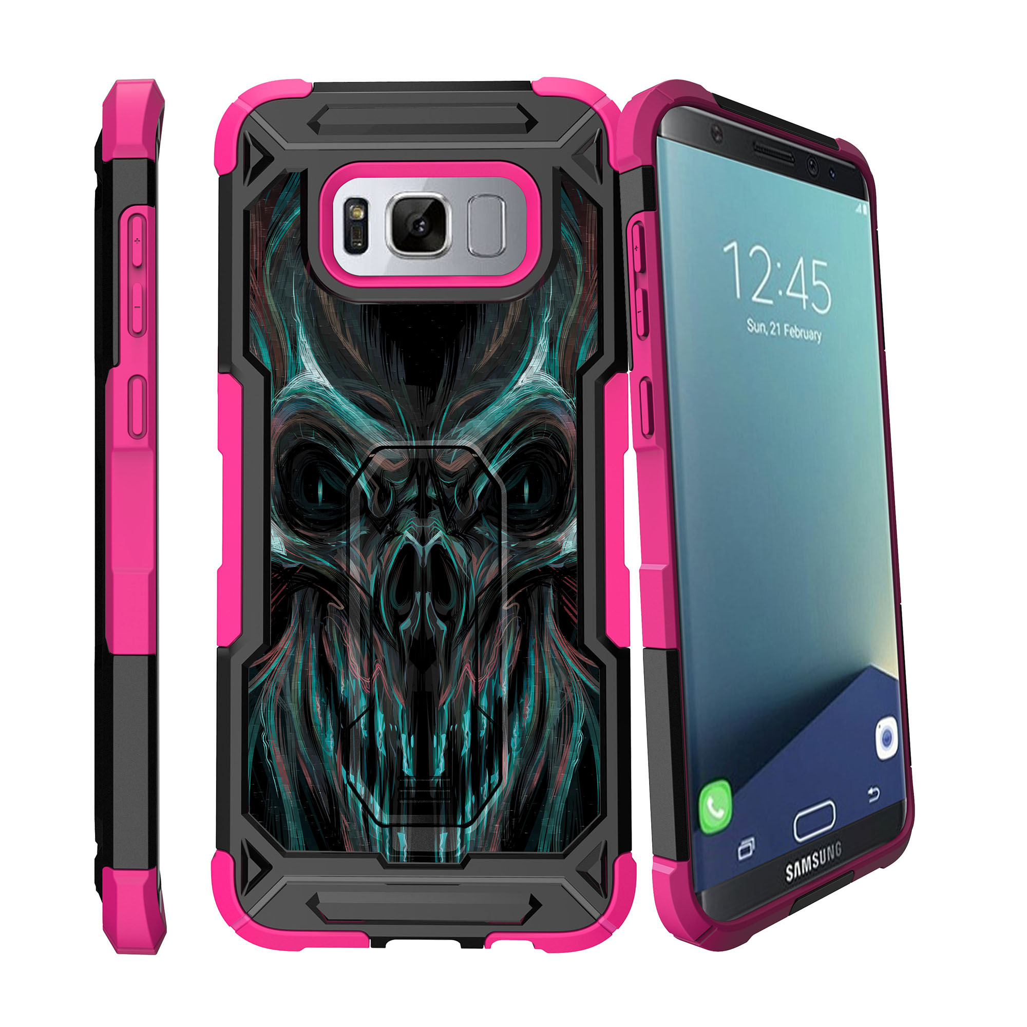 Case for Samsung Galaxy S8 Plus Version [ UFO Defense Case ][Galaxy S8 PLUS SM-G955][Pink Silicone] Carbon Fiber Texture Case with Holster + Stand Skull Collection