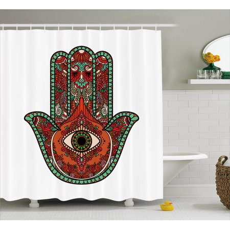 Evil Eye Shower Curtain Vintage Bohemian Style Colorful Hamsa Figure With All Seeing Religion