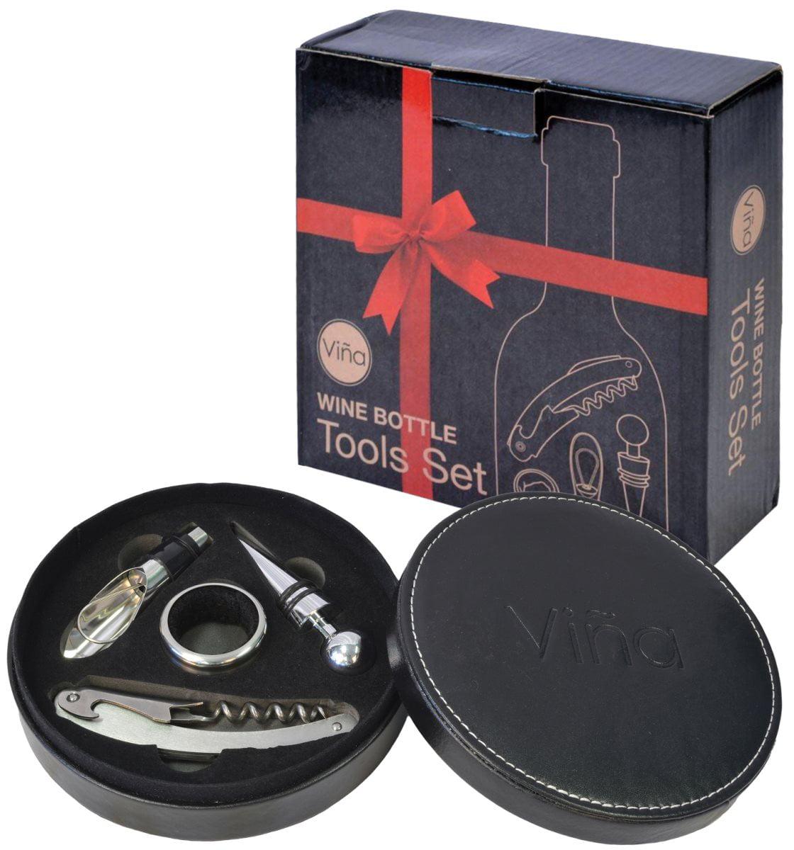 Vina Wine Accessory Bottle Opener Kit 4PCS set in Leather Gift Box, Stainless Steel Corkscrew + Wine Collar... by Vina