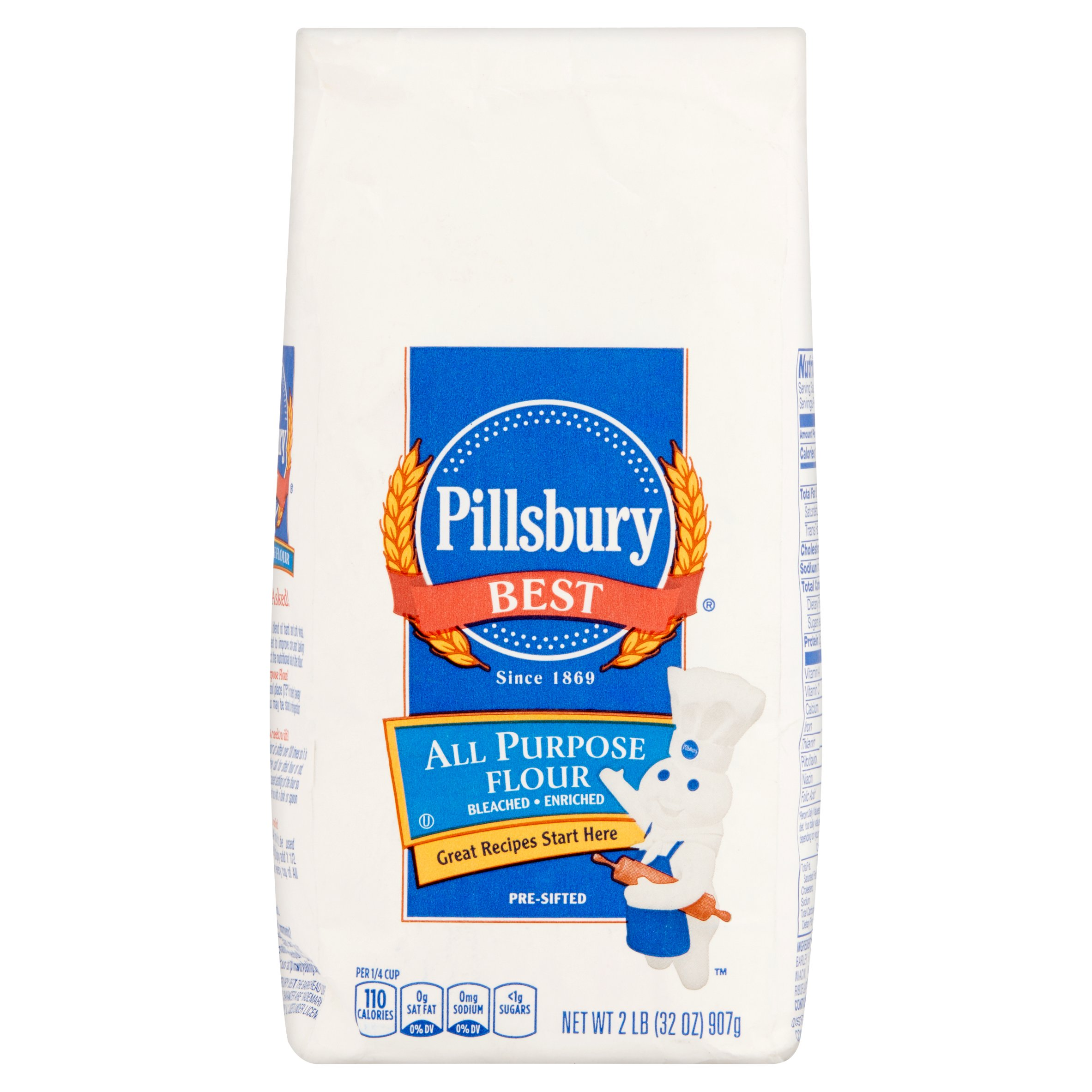 (4 Pack) Pillsbury Best Pre-Sifted All Purpose Flour, 2 lb