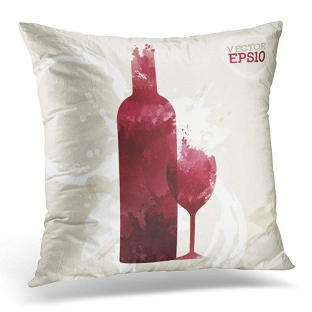 ARHOME Red Tasting of Bottle and Wine Glass on Stained Suitable for List and Presentations White Watercolor Throw Pillow Case Pillow Cover Sofa Home Decor 16x16 - Wine Presentation Case