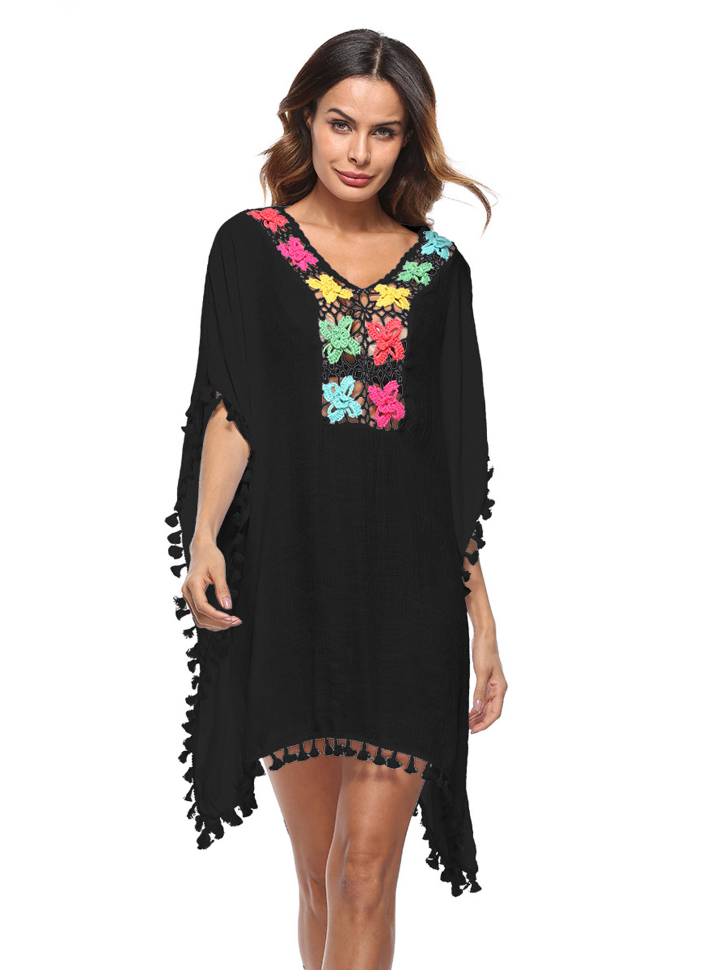 Women's Pompom Tassel Trim Bikini Swimsuit Beach Cover Up,Black