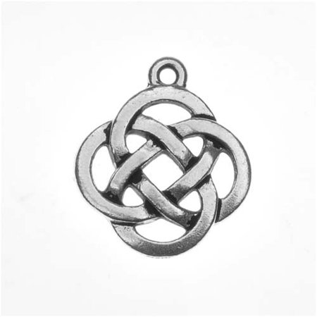 Pewter Pendant Charm (Fine Silver Plated Pewter Celtic Knot Open Pendant Charm 20mm (1) )