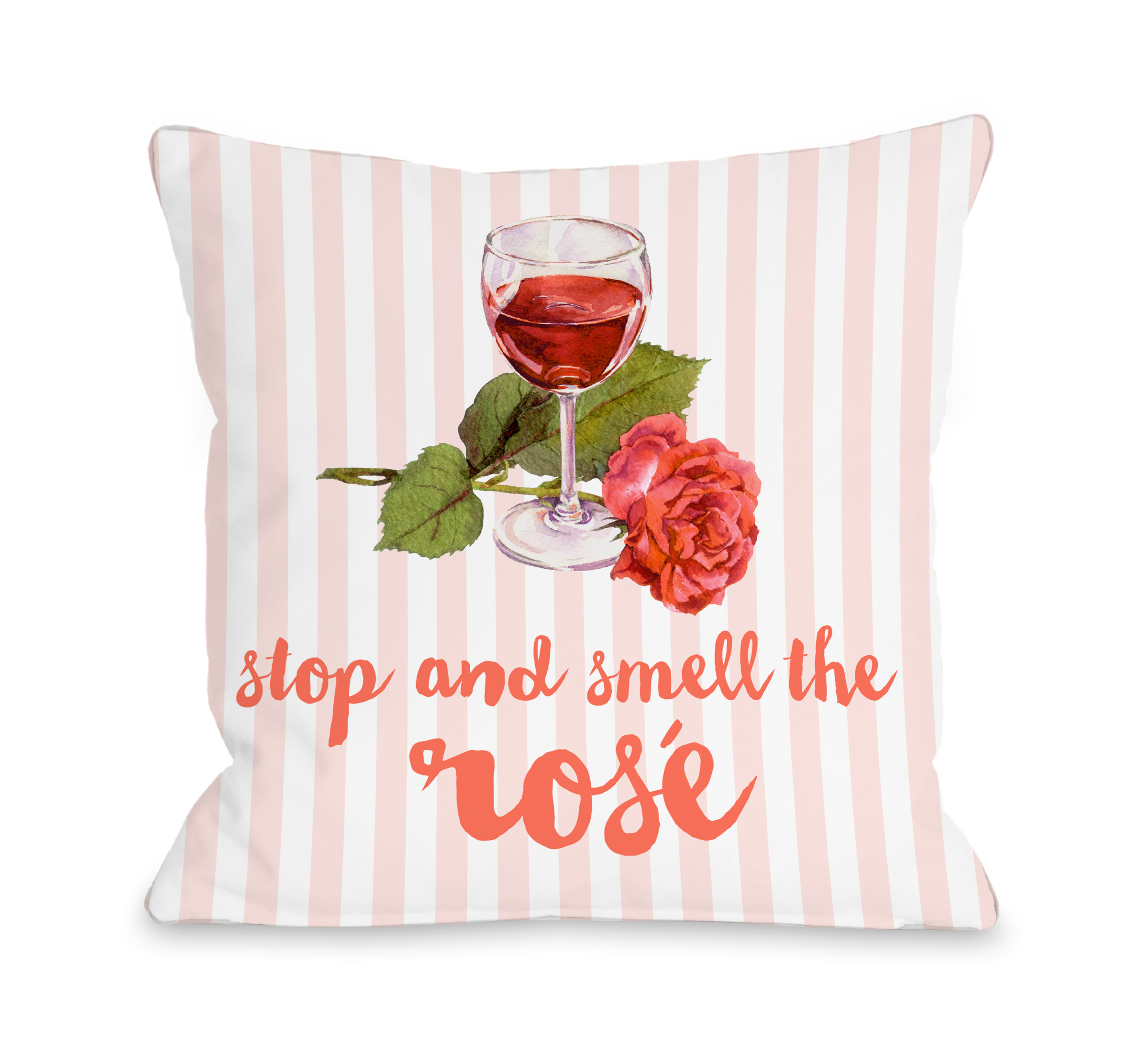 Stop and Smell The Rose - Pink Multi 18x18 Pillow by OBC