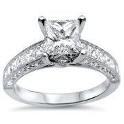 Noori Collection Noori 18k White Gold 1 7/8ct TDW Princess-cut Diamond Engagement Ring