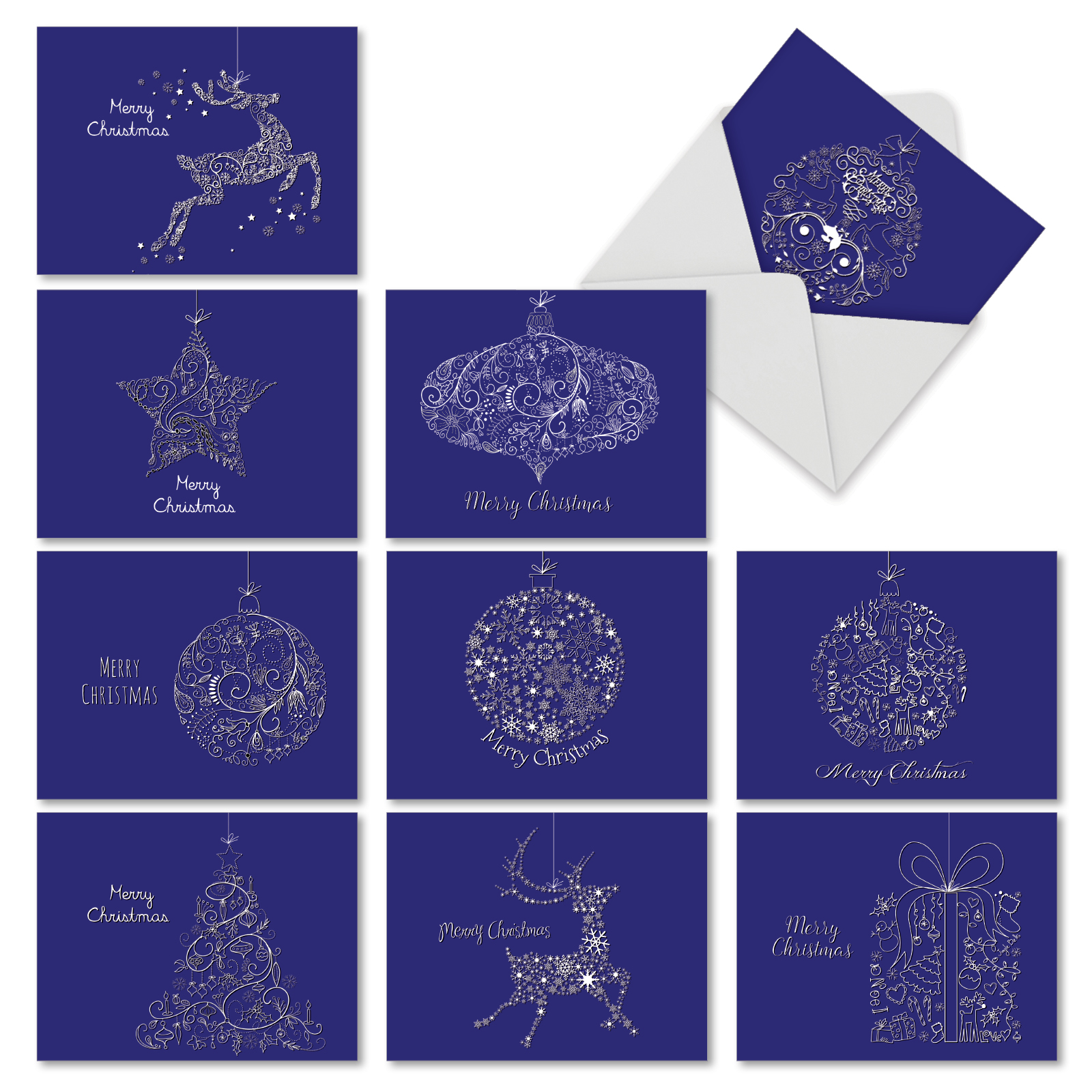 'M2941XSB HOLIDAY IMPRESSIONS' 10 Assorted Merry Christmas Note Cards Featuring Swirly Doodle Designs of Holiday Icons Against a Dark Blue Background, with Envelopes by The Best Card Company