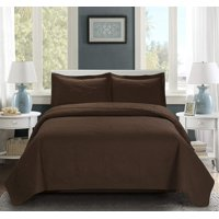 3 Piece Oversize Bedspread Chocolate Color -MIKANOS Paisley Ultrasonic Embossed Bedspread with Two Shams - Oversized Coverlet King 118x106 inches - Hypoallergenic,Fade Resistant,Wrinkle Resistant,Soft