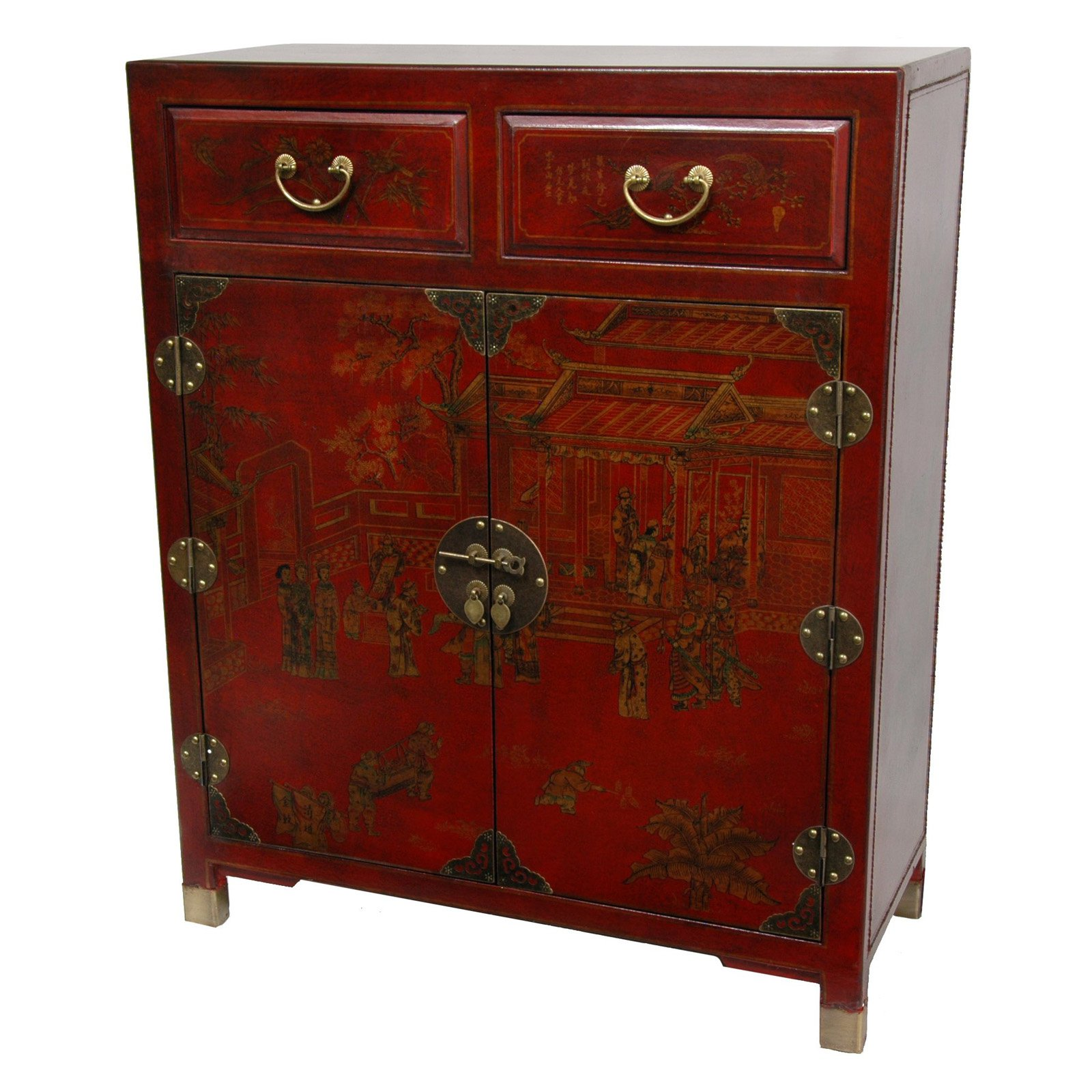 Red Lacquer 2-Drawer Cabinet