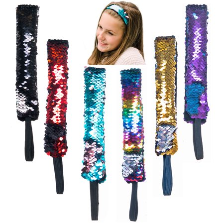 6 PCs Mermaid Reversible Sequin Sparkly Glitter Headbands with Elastic Cord  - Great Party Favors