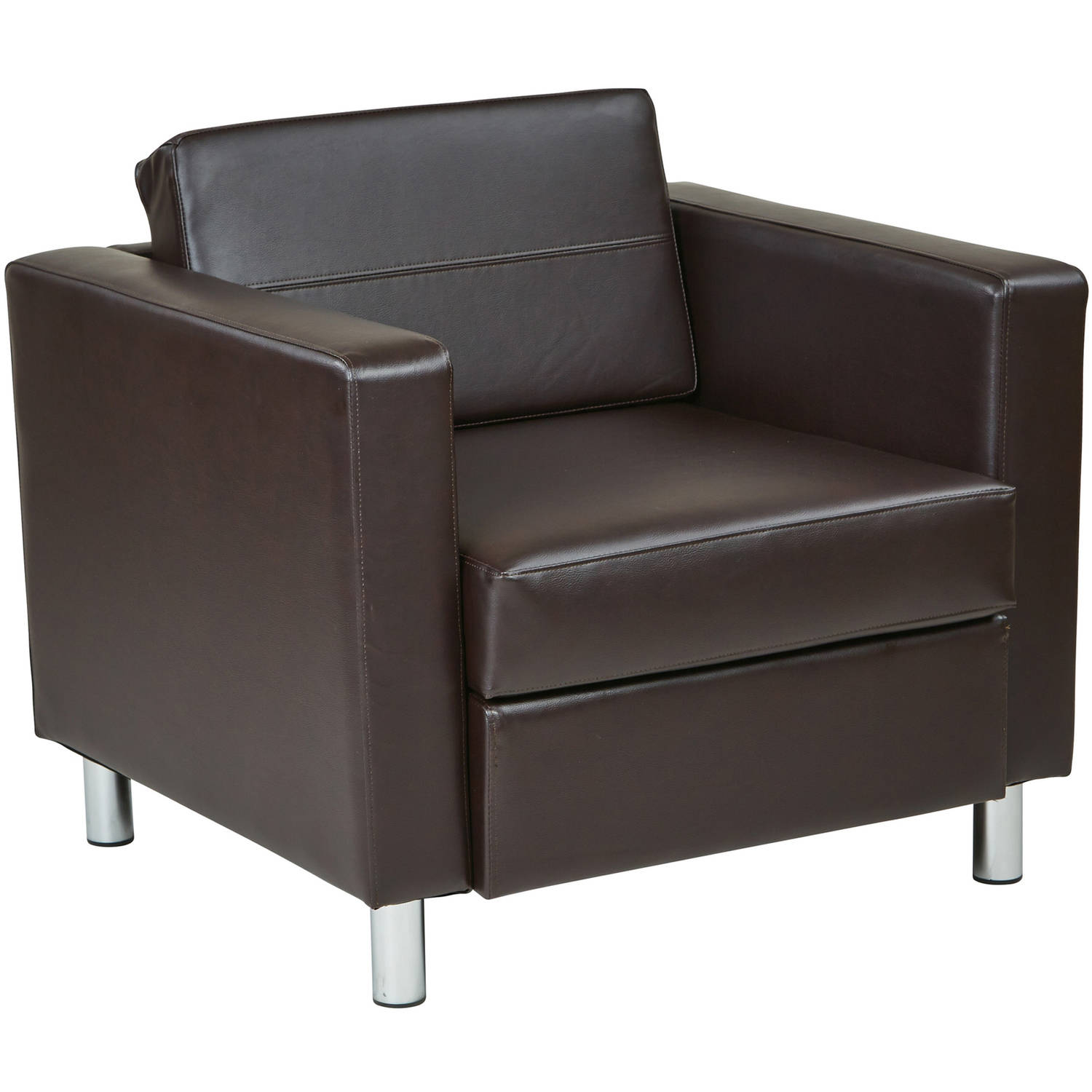 Ave Six Pacific Easy-Care Faux Leather Armchair with Box Spring Seat & Silver Color Legs by Avenue Six