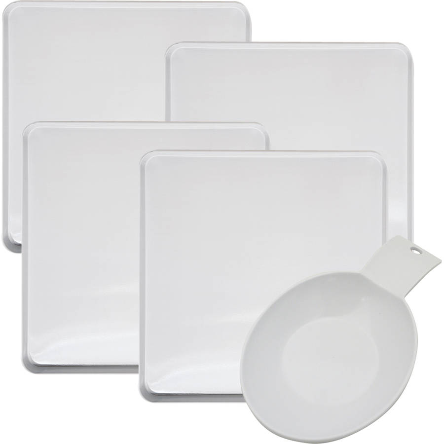 Range Kleen 5-Pack Square White Burner Cover, White Spoon Rest