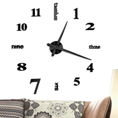 EECOO DIY Large 3D Frameless Wall Clock, Estink Modern Style Mute Acrylic Wall Clock Mirror Stickers Decoration for Living Room Bedroom Office(Black)