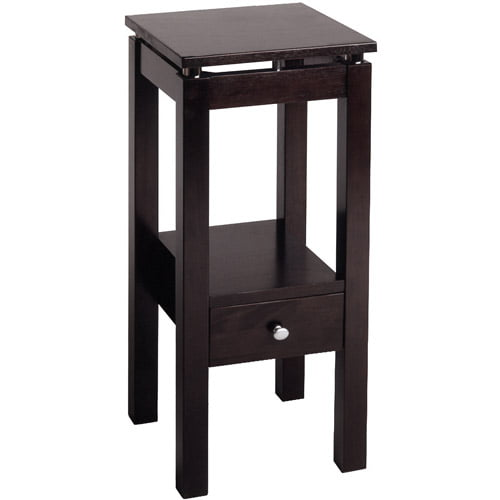 Linea Accent Table with Chrome, Espresso by Generic