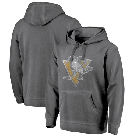 Pittsburgh Penguins Fanatics Branded Shadow Washed Logo Pullover Hoodie - Black - Penguin Hoodie
