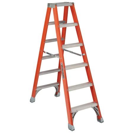 Louisville Ladder FM1506 6 ft. Fiberglass Twin Front Ladder,Type IA, 300 lbs Load Capacity