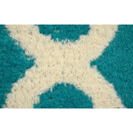 """Mainstays Quatrefoil Teal/Ivory 45""""x66"""" Geometric Polypropylene Indoor Door/Room Accent Rug"""