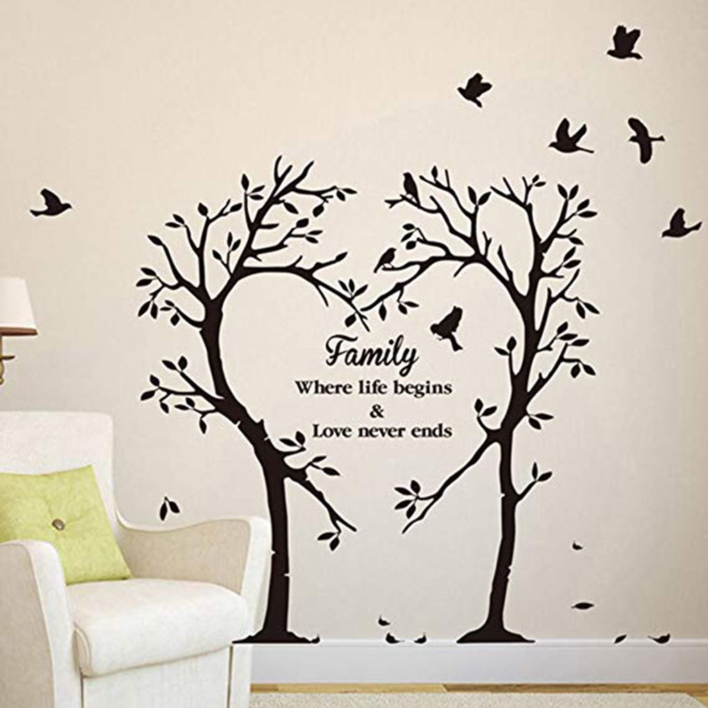 NT040 Family Tree Vinyl Wall Decal with Bird Stickers