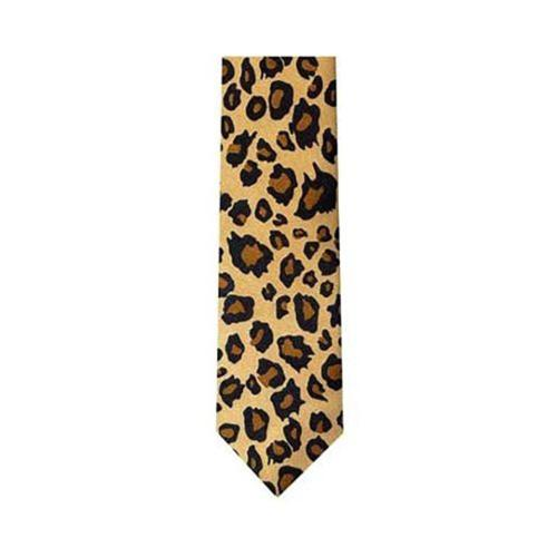 Leopard Spotted Men's Slim Tan & Black Necktie