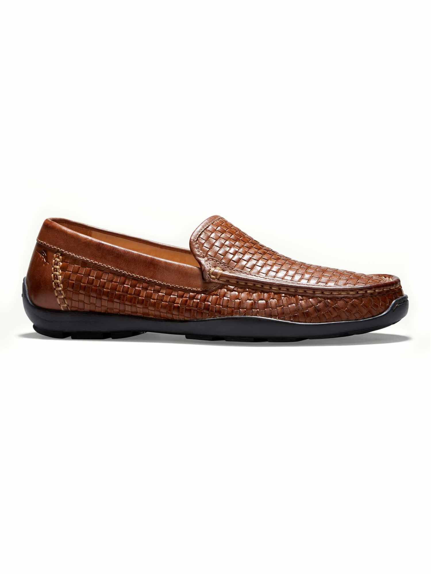 Tommy Bahama Mens Orson Woven Leather Venetian Drivers (Dark Tan, 9) by