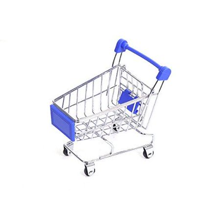 Sexy Sparkles Mini Shopping Cart Trolley for Desktop Decoration Ornament Toys Novelty Mini Toy Shopping Cart - Pen/Pencil/PostIt Holder Desk Accessory (Blue)](Shopping For Toys)