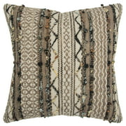 "Rizzy Home Decorative Poly Filled Throw Pillow Multi Striped 20""X20"" Grey"