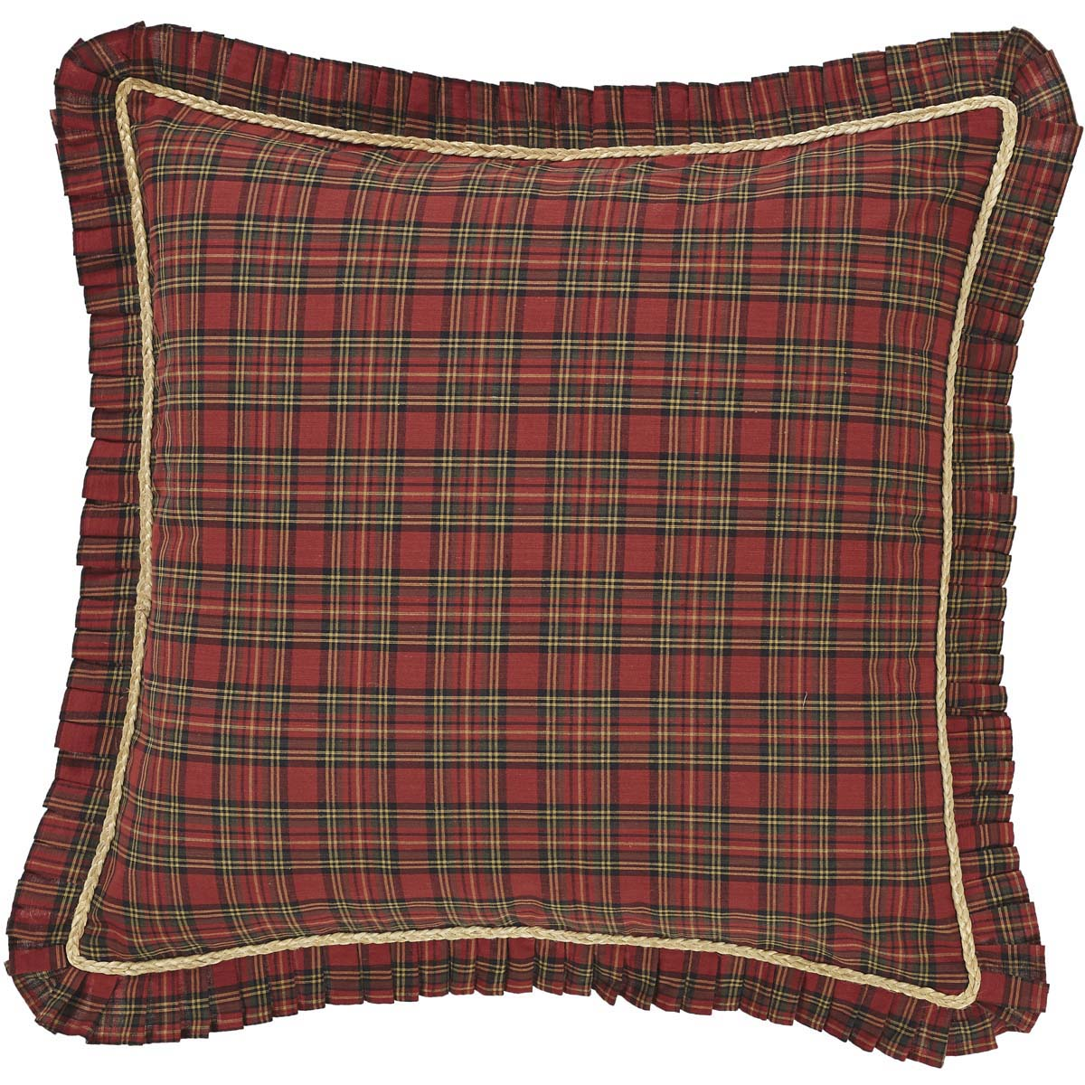 Brick Red Primitive Bedding Kilton Star Cotton Rope Plaid Euro Sham