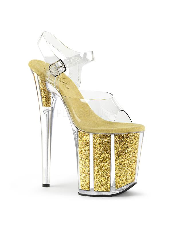 "Clr/Gold Glitter Pleaser Platforms (Exotic Dancing) 8"" Heel Size: 9"