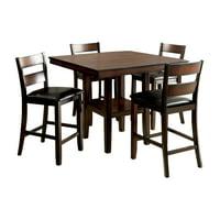 Belkor Contemporary 5-Piece Dining Set, Brown Cherry