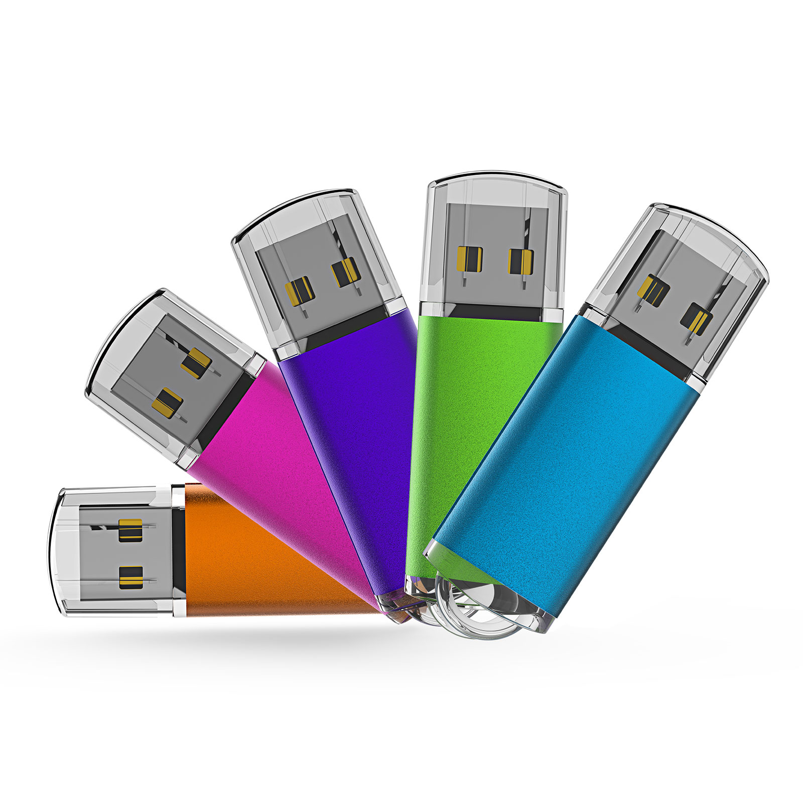 KOOTION 5pack 1GB USB 2.0 Flash Drive Thumb Drives Memory Stick, 5 Mixed Colors: Blue, Purple, Pink, Green, Orange