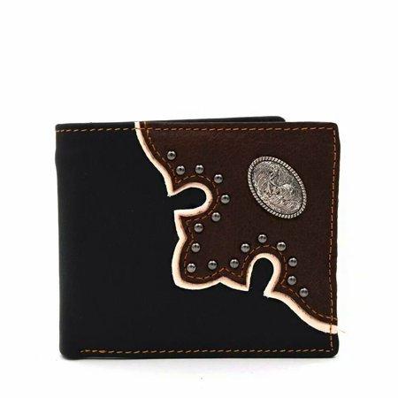 Western Wallet Men's Leather Slim Bifold Cowboy Wallet for Men Rooster