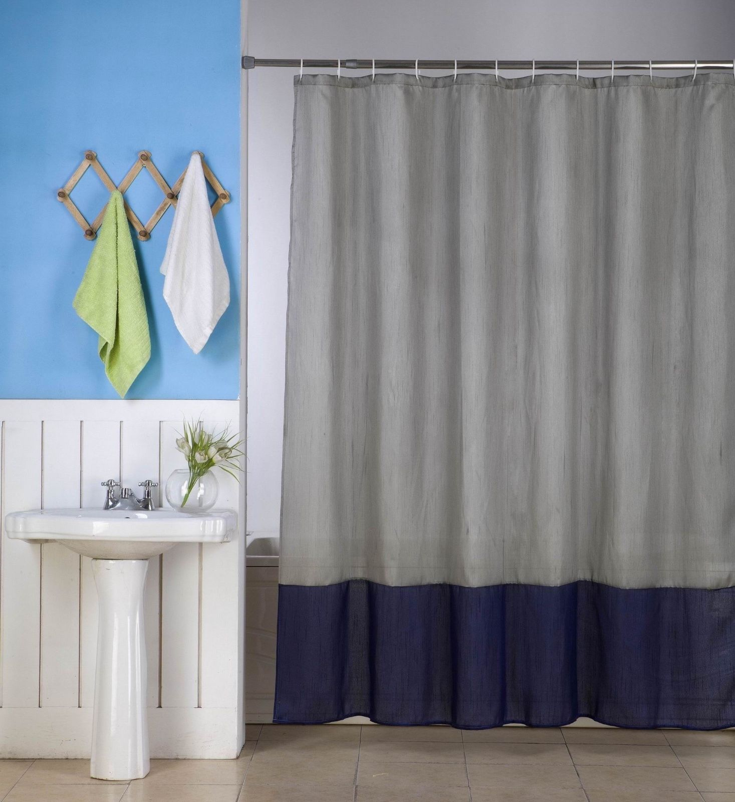"1PC (H10) SILVER NAVY BLUE  FAUX SILK 2 SHADES SOLID BATHROOM  BATH FABRIC SHOWER CURTAIN  WATER REPELLENT 72"" X72"""