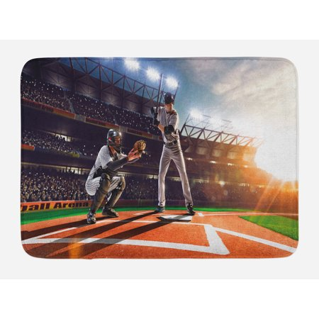9' Plush Player - Teen Room Bath Mat, Professional Baseball Players in the Stadium Playing the Game Pich Sports Print, Non-Slip Plush Mat Bathroom Kitchen Laundry Room Decor, 29.5 X 17.5 Inches, Multicolor, Ambesonne