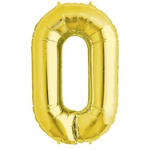 Number 0 - Gold Helium Foil Balloon - 34 inch
