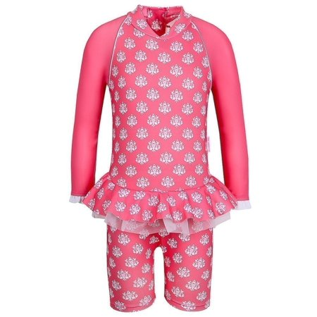 Little Girls Coral Indian Damask Long Sleeved Sun Suit Zuni Indian Coral