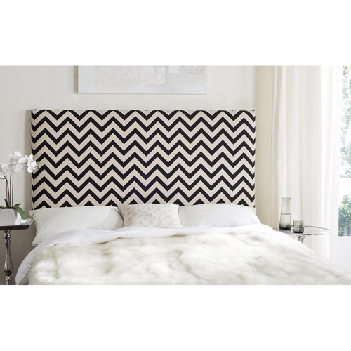 Safavieh Ziggy Zig-Zag Queen Headboard, Black and White