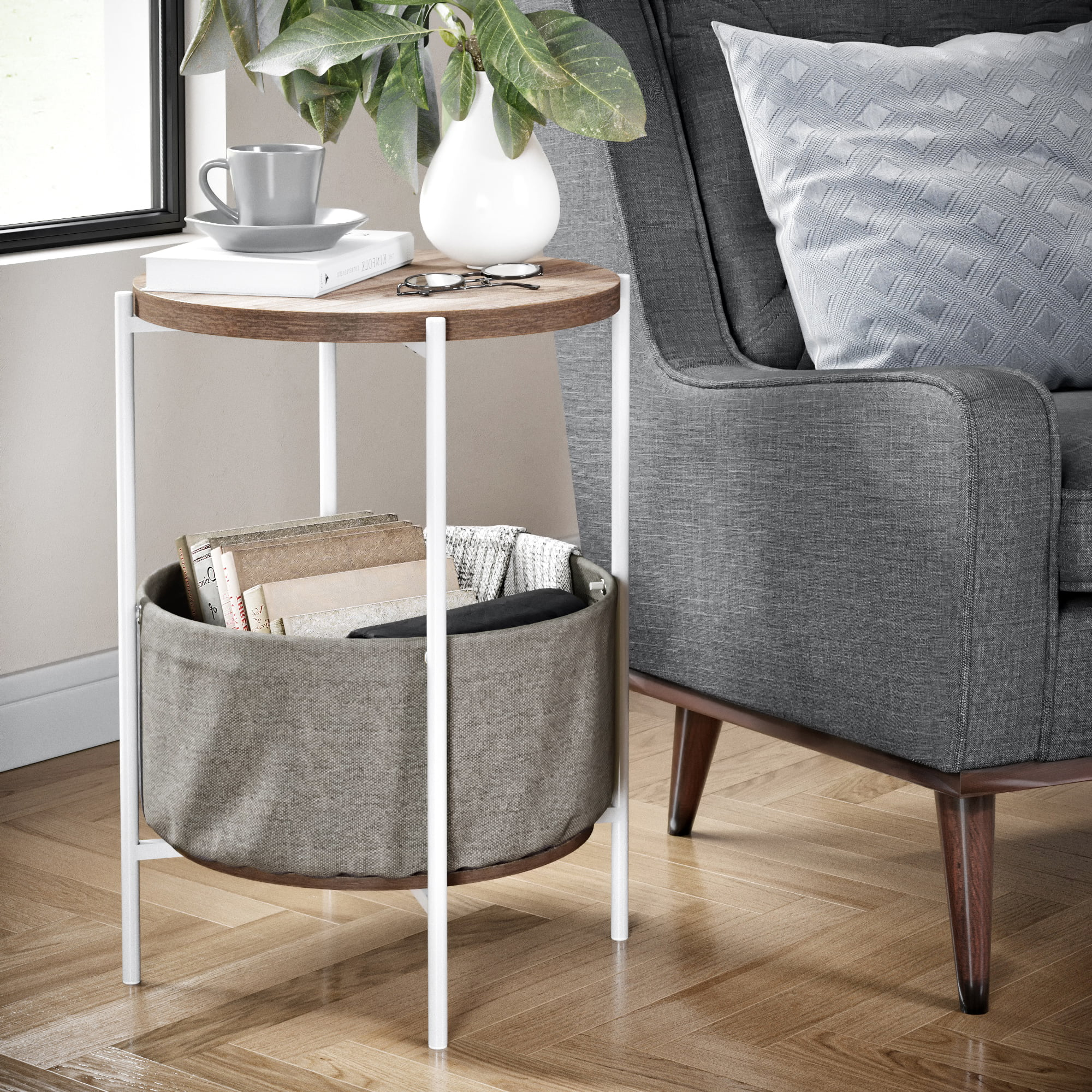Picture of: Nathan James Oraa Wood Side Table With Beige Fabric Storage Light Brown Top White Metal Base Walmart Com Walmart Com