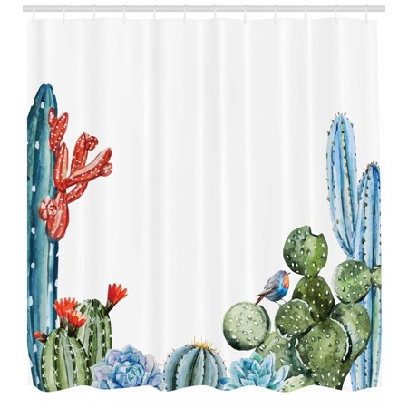 Cactus Shower Curtain, Cactus Spikes Flowers with Birds Cartoon Style Vintage Like Colored Artwork, Fabric Bathroom Set with Hooks, Green and Blue, by Ambesonne