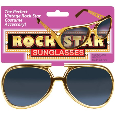 Star Power Old-Fashioned Aviator Elvis Rockstar Sunglasses, Gold, One Size