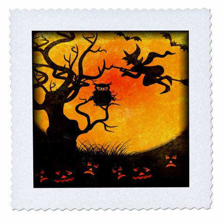 3dRose Halloween Backdrop - Quilt Square, 6 by 6-inch - Halloween Quilt