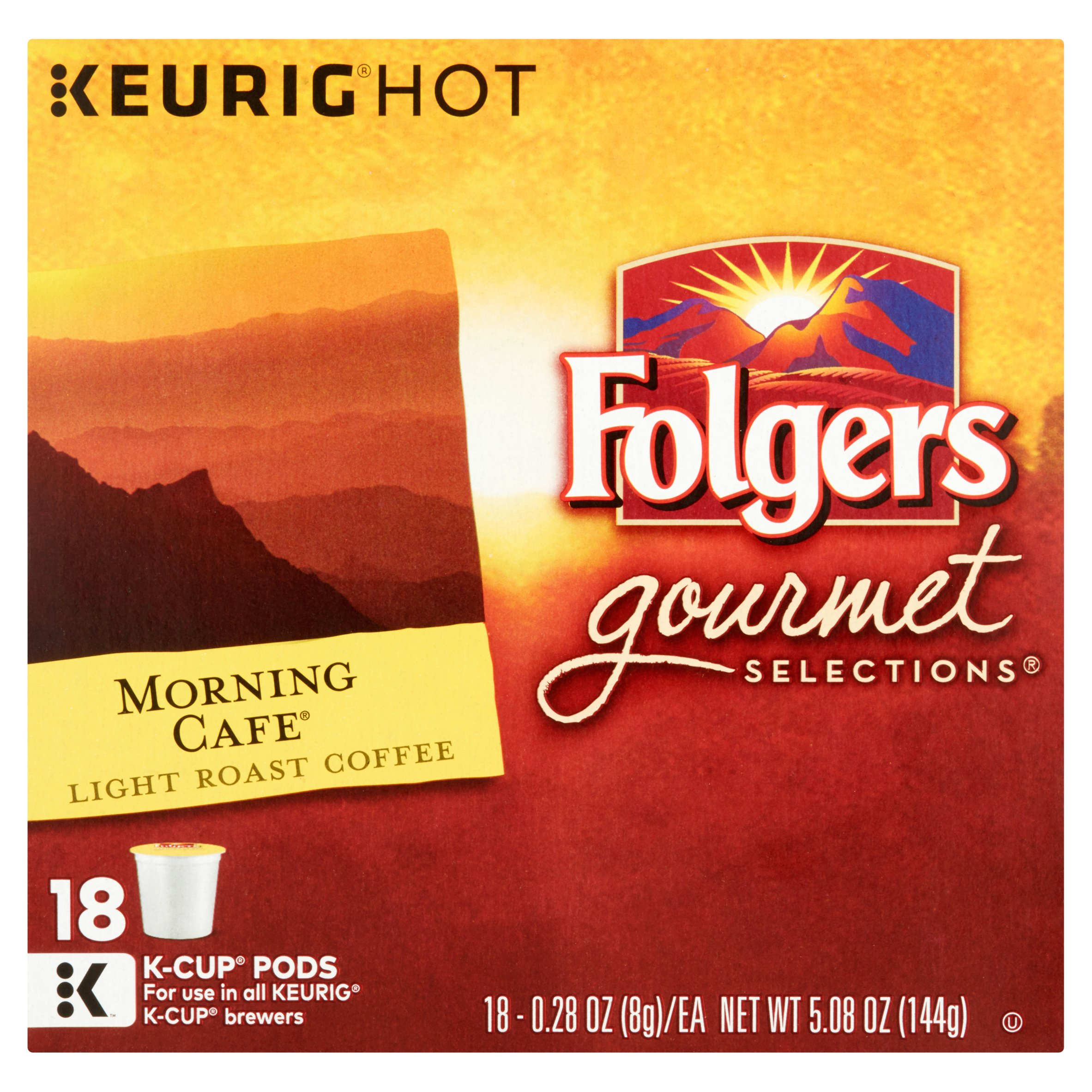 Keurig Hot Folgers Gourmet Selections Morning Cafe Light Roast Coffee, 0.28 oz, 18 count