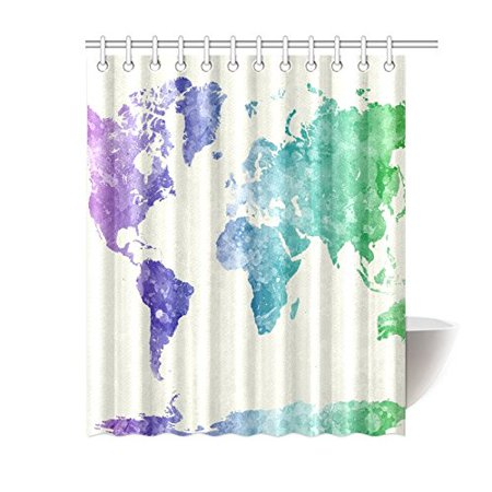 GCKG Watercolor Globe Art Shower Curtain, World Map Polyester Fabric Shower  Curtain Bathroom Sets 60x72 Inches | Walmart Canada