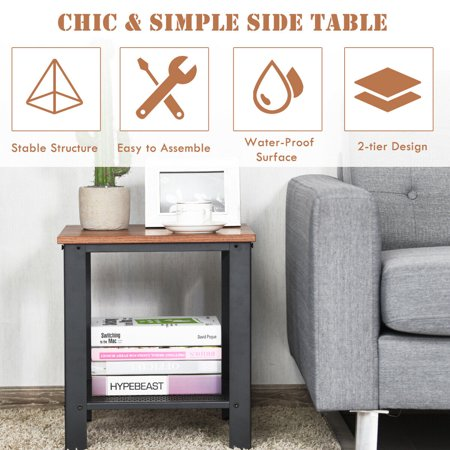 Gymax Industrial End Table 2-Tier Side Table W/Storage Shelf Rustic Sofa Table Black - image 4 of 9