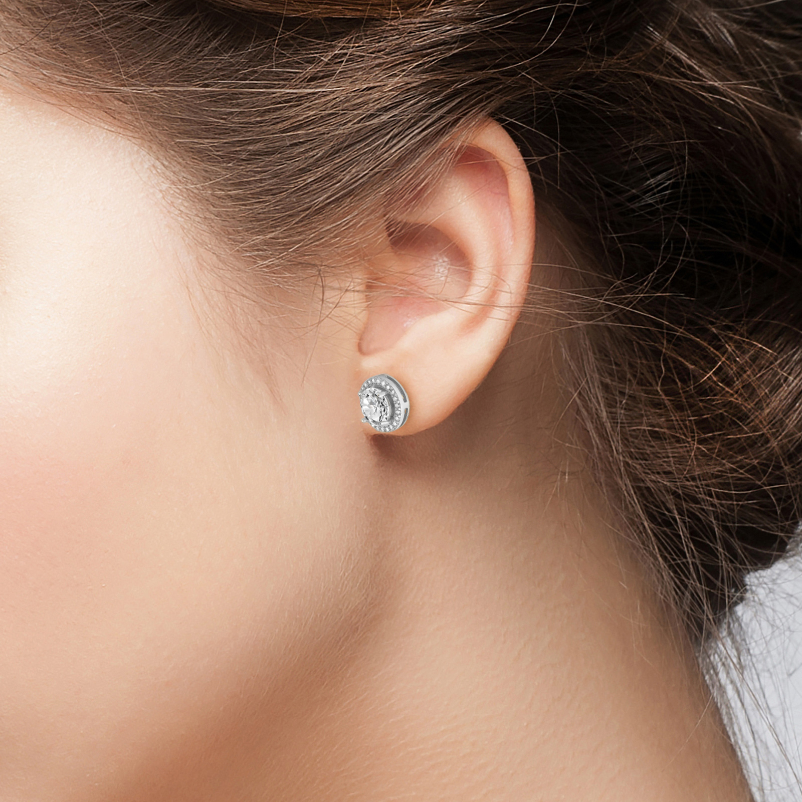 Details about  /Plated Sterling Silver Cubic Zirconia Halo Stud Earrings