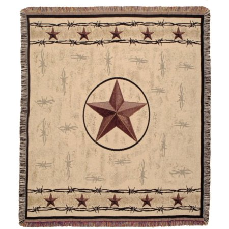 Rustic Barbed Wire & Texas Star Decorative Woven Afghan Throw Blanket 50