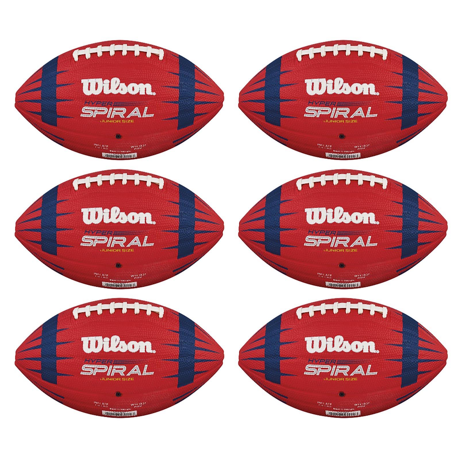 6) Wilson Hyper Spiral NFL Play 60 Junior Size American Sport Footballs WTF1837 by