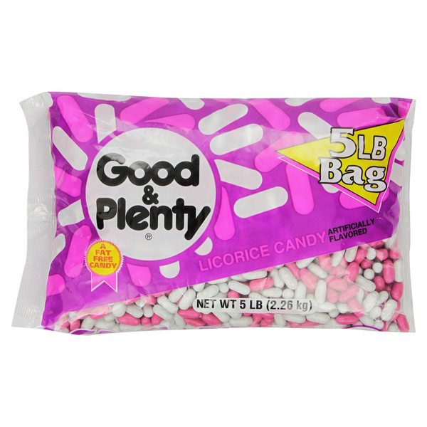 Good & Plenty Fat Free Licorice Candy 5 lbs bags Single Pack by