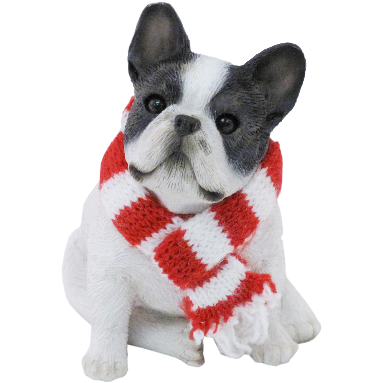 Sandicast Sitting Brindle French Bulldog with Scarf Christmas Dog Ornament